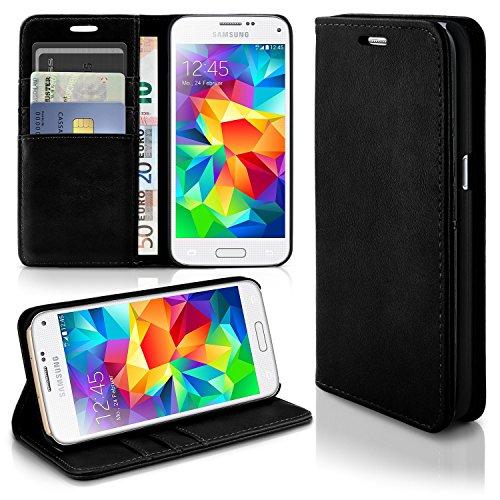 MoEx Booklet in Lederoptik - Kartenfächer und Aufstellfunktion passgenau für Samsung Galaxy S5 Mini | Eleganter 360 Grad Vollschutz, Schwarz