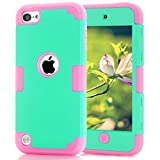 Case for iPod Touch 5 Case for iPod Touch 6 Case, Dual Layered Hard PC Case + Silicone Shockproof Heavy Duty High Impact Armor Hard Case Cover for Apple iPod Touch 5 6th Generation (Sky Blue+Pink)