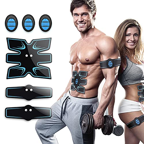 OSITO Estimulador Muscular Abdominales, EMS Estimulador Muscular, Entrenador Muscular con 10 PCS Reemplazo Gel Pad para Abdomen/Cintura/Pierna/Brazo, 11 Modos y 25 Niveles de Intensidad