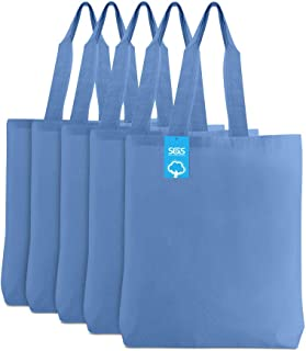 Simply Green Solutions Blank 100% Cotton Material Reusable Cloth Gusseted Bags - Set of 5 - Tote Bags for School, Tote Bag...