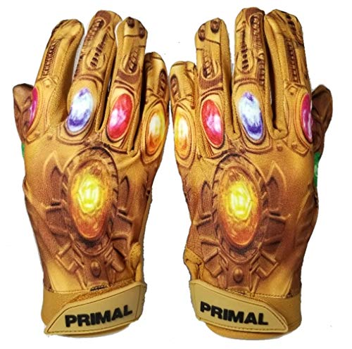 Primal Gloves Power Stones Football Gloves (Golden, Small)