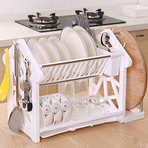 Étagère de cuisine, Fournitures de cuisine Double couche Égouttoir égouttoir, vaisselle de cuisine (Couleur : Blanc, taille : With chopping board)