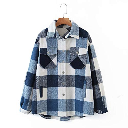 Womens Casual Wool Blend Plaid Lapel Button Down Long Sleeve Shacket Jacket Coat Winter Loose Oversize Shirts (Blue, Small)