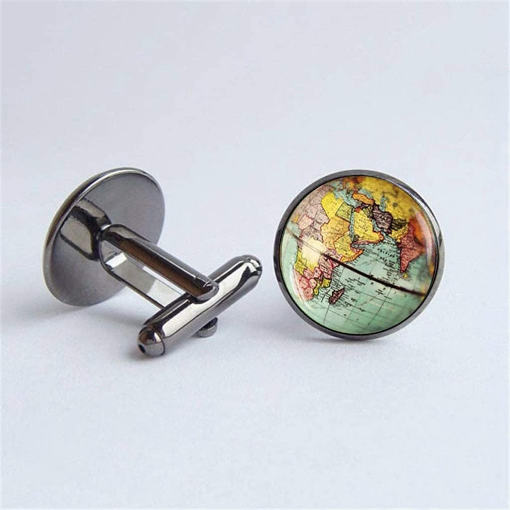 GYZX Vintage Earth World Map Cufflinks Globe Planet Art Photo Crystal Glass Dome Shirt Cuff Links for Men Personality (Color : C)