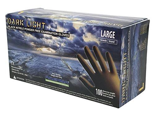 Adenna Dark Light 9 mil Nitrile Powder Free Exam Gloves (Black), Large - Box of 100 (DLG676)