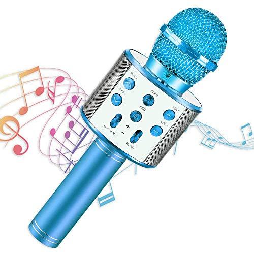 Micrófono Inalámbrico, Portátil Inalámbrica Micrófono y Altavoz del Karaoke con LED para Niños Canta Partido Musica, Micrófono...