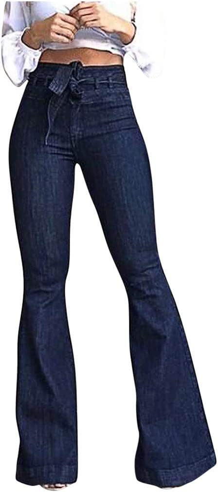 Uofoco Women Loose High Waist Stretch Bell Bottom Jeans Tie Flared Denim Pants At Amazon Women S Jeans Store
