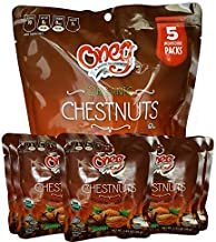 Oneg Organic Roasted and Peeled Chestnuts, Ready to Eat Cook & Bake, 1.23oz - Snack Size, Family Pack, Pack of 6