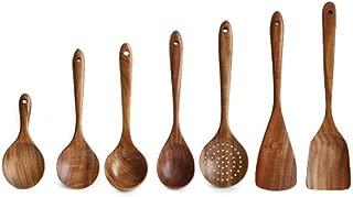 Povinmos Premium Thailand Teak Natural Wood Tableware Spoon Ladle Long Rice Colander Soup Skimmer Cooking Spoons Scoop Kitchen Utensil Set