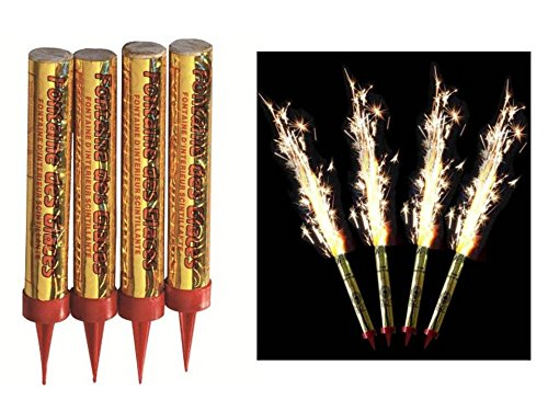 4 bougies d'ambiance ' fontaine d'artifice' pour gâteau d'anniversaire, durée 60 secondes