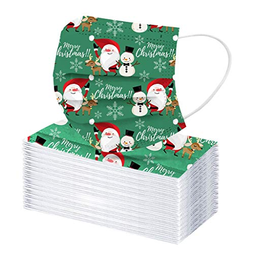 Yaguan 50PC Disposable Unisex Printed Christmas Soft For Adults 3-Layer Made in USA