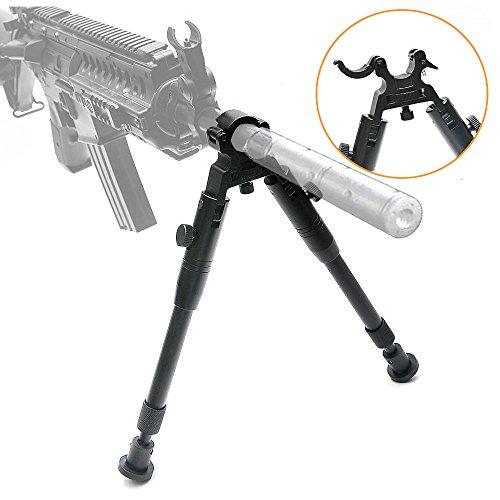 Bípode con Abrazadera para Rifles de 6-9 Pulgadas, Duro y Plegable, Altura Ajustable, pies de Goma, de Metal, Montaje Universal