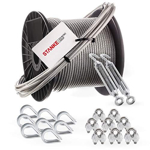 Seilwerk STANKE Rankhilfe PVC Drahtseil ummantelt verzinkt 20m Stahlseil 4mm 6x7, 2x Spannschloss M6 Haken+Öse, 8x Kausche, 8x Bügelformklemme - SET 5