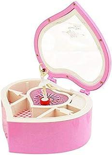 XYZMDJ Mekanisk musiklåda, ballerina musiklåda plast smyckeskrin handvev musiklåda (färg: Rosa)