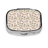 Caja de pastillas cuadrada personalizada personalizada caja decorativa contenedor de vitaminas bolsillo o billetera edredón de raza de perro Labrador amarillo D