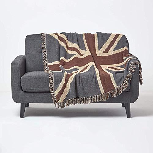 Homescapes Tagesdecke mit britischer Flagge Union Jack, 125 x 150 cm, Sofaüberwurf aus 100prozent Baumwolle, handgewebt in Jacquard-Gewebe, stilvolle Wohndecke mit Fransen