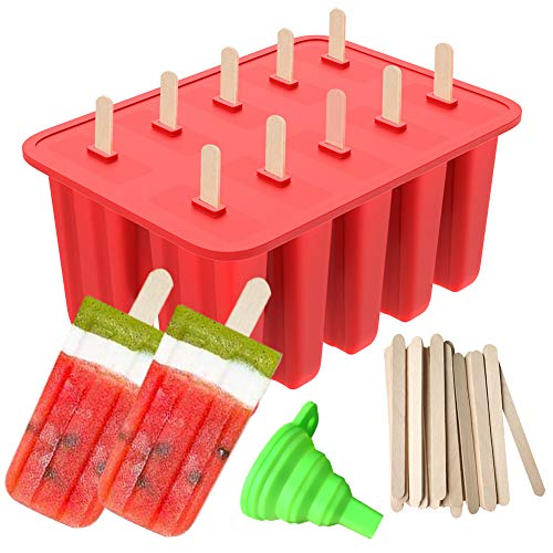 Popsicle Molds 10-Cavity Silicone Mold with Silicone Funnel and 50 Wooden Sticks