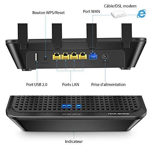 rockspace WLAN Router - 2033 Mbit/s WiFi Router 5G&2.4 Ghz, AC2100 WLAN-Router mit Access Point/WPS/4x Gigabit LAN/USB 2.0/APP Steuerung, Abdeckung bis zu 160㎡ (Black)