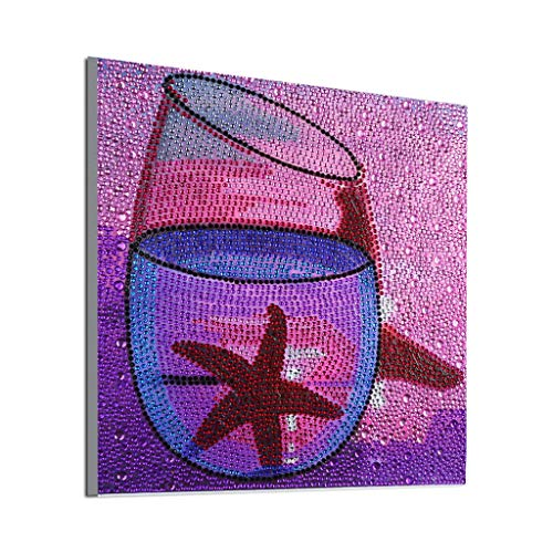 ZSNUOK 5D DIY Diamond Painting Kits for Adults or Kids, Full Crystal Drill Embroidery Cross Stitch Mosaic Making Supplies Canvas Art for Home Decor Starfish Glass 12X12 inches