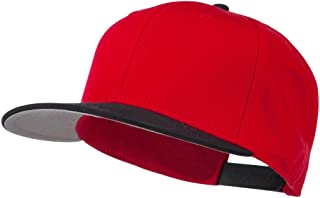 Two Tone Superior Cotton Twill Flat Bill Snapback Cap - Black Red