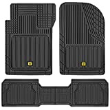 Caterpillar CAMT-8303 Advanced Performance ToughLiner Rubber Car Floor Mats for Auto Truck SUV & Van, Full Custom Trim to Fit Liners, Heavy Duty Odorless All Weather Total Protection, Black