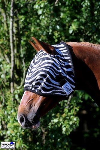 Zebra Fliegenmaske Fliegenschutzmaske Fliegenhaube mit oder ohne Ohren Mini Shetty MS S P VB WB X Full Tysons mit leichtem Gummizug (OHNE Ohren, Pony)