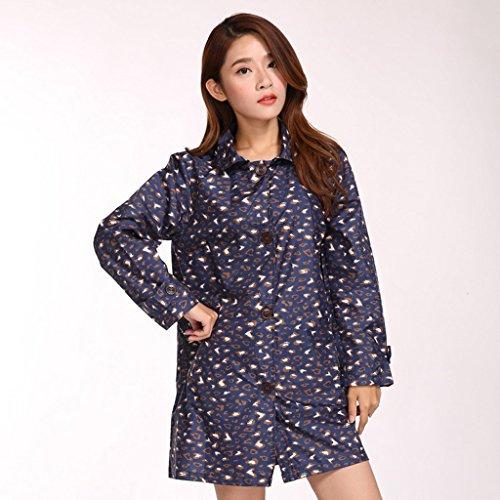Vestes anti-pluie QFF Adulte Raincoat Mode féminine Longue Section étanche à Pied Poncho Light and Thin Windbreaker Lovely Windproof (Couleur : Bleu foncé)