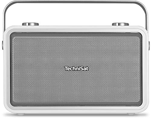 TechniSat DIGITRADIO 225 – Portables DAB+/UKW Radio (DAB Digitalradio, Metall-Tragegriff, Akku, Sleeptimer, Wecker, Kopfhöreranschluss, AUXin, Bluetooth-Audiostreaming, NFC, Netzschalter) weiß