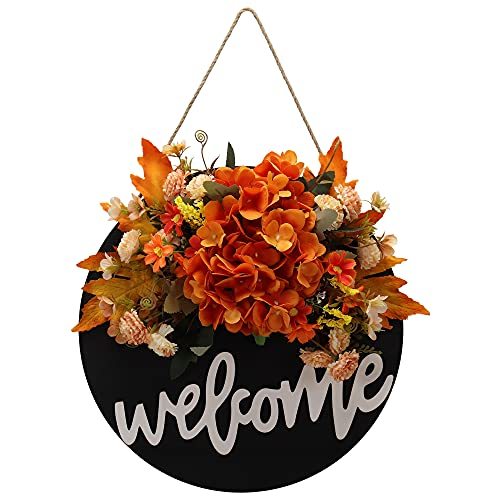 Fall Wreaths for Front Door ,Fall Welcome Sign for Front Door Hanger   Black Round Door Wreath   Welcome Farmhouse Sign for Front Door Decor,104