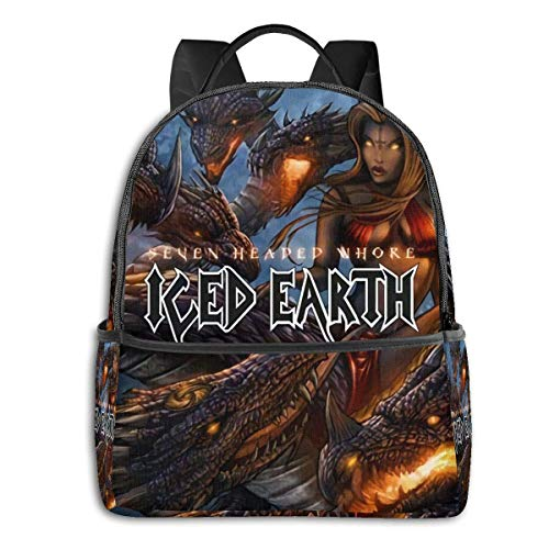 IUBBKI Mochila lateral negra Mochilas informales Iced Earth University School Large Capacity Backpack Computer Bag Unisex Suitable Hiking Variety Outdoor Sports