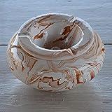 Cenicero antihumo gigante mármol marrón y blanco, 30 cm