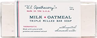 U.S. Apothecary Milk + Oatmeal Triple Milled Bar Soap 9 oz/255g by k hall designs