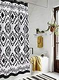 HAOCOO Boho-Duschvorhang, schwarz-weiß, Stoff, Duschvorhänge für Badezimmer, schick, geometrisch, mit Haken, wasserdicht, Badezimmer-Zubehör-Set (140 x 200 cm)