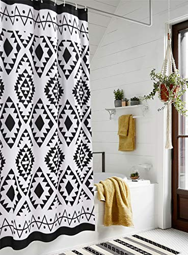 HAOCOO Boho Shower Curtain Black and White Fabric Shower Curtains for Bathroom Chic Tribal Geometric with Hooks Waterproof Bathroom Accessories Sets (72''x72'')