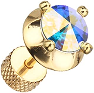 Golden Spacer Saucer Crystal Steel Freedom Fashion Fake Plug (Sold by Pair)