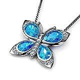 DEPHINI - Collier papillon bleu - Pendentif argent pour femm