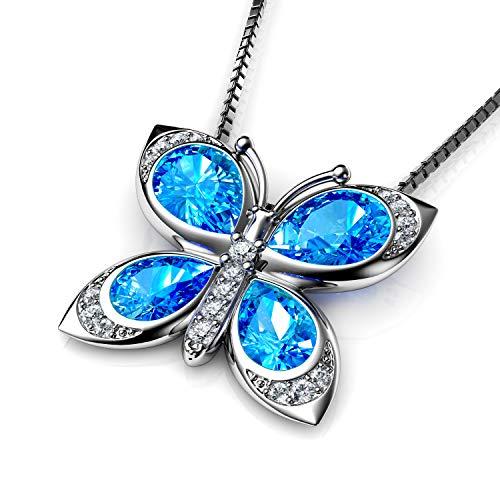 DEPHINI - Colgante mariposa - Mariposa collar para las mujeres con luz azul Dephini - Cristales de circonita alrededor - Fine joyas plata de ley 925 cadena aguamarina regalo para las mujeres