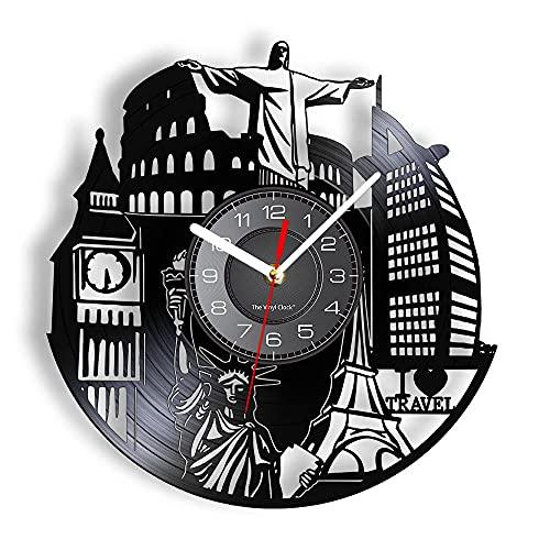 mbbvv Reloj de Pared de Vinilo de Viaje Reloj de Pared de Vinilo de Viaje Logotipo de Nueva York Hito Mundial Minimalismo Decoración de Oficina y hogar