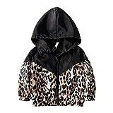 suomate Toddler Baby Girl Leopard Zipper Hooded Jacket Long Sleeve Windbreaker Winter Coat Outwear Clothes (Leopard, 1-2 Years)