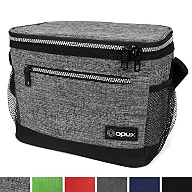 OPUX Premium Insulated Lunch Bag with Shoulder Strap | Lunch Box for Adults, Kids | Soft Leak Proof Liner | Medium Lunch Cooler for Office, School | Fits 6 Cans (Heather Gray)