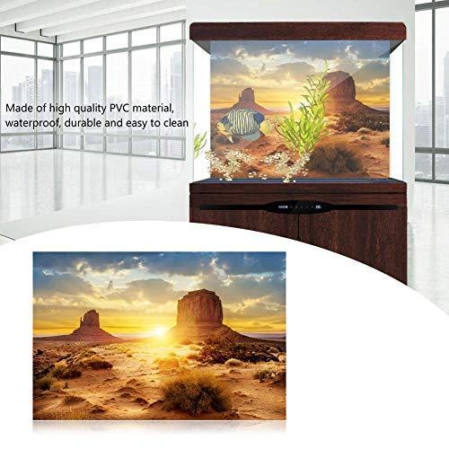 Sonne und Wüste Stil Aquarium Poster Verdicken PVC Adhesive Terrarium Hintergrund Statisch Haftenden Tapetenaufkleber (61 * 30cm)