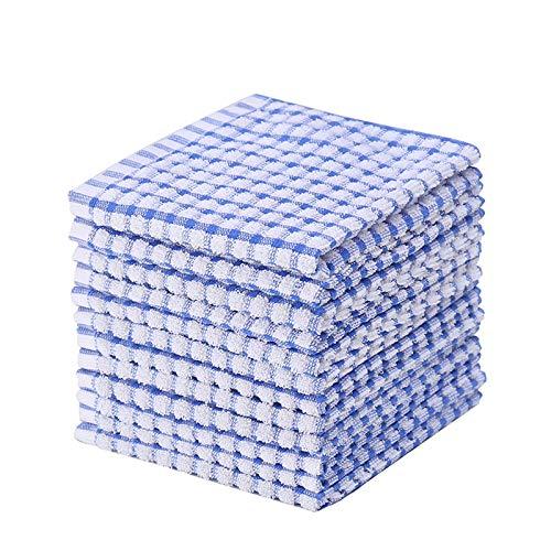 Kitchen Dishcloths 12pcs 12x12 Inches Bulk Cotton Kitchen Dish Cloths Scrubbing Wash Cloths Sets (Blue) Maryland