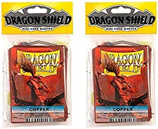 Dragon Shield Bundle: 2 Packs of 50 Count Japanese Size Mini Card Sleeves - Copper Color