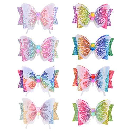 LANCHEN - 8 Pinzas para el Pelo con Purpurina para niños y niñas, Pinza para el Pelo con Mariposa, Pinza Brillante para Lazos