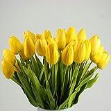 Momola Lot de 10 Tulipes artificielles en Latex au Toucher réaliste, idéales pour Les Bouquets de Mariage ou la décoration de la Maison et du Jardin, 10 pièces (Jaune)