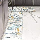 Kitchen Rug Set,LEEVAN Kitchen Floor Mats 2 Piece PVC Leather Anti Fatigue Comfort Heavy Duty Waterproof Oil Proof Non-Skid Rubber Back Washable Doormat Bathroom Area Rug(17' X 29'+17' X 59', Leaves)