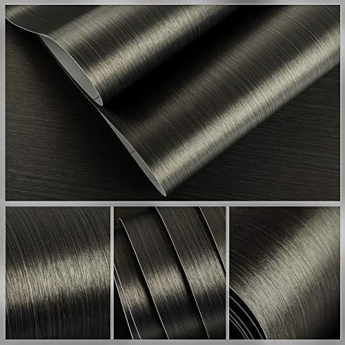 VEELIKE Bronze Black Brushed Stainless Steel Contact Paper 15.74'×118.11' Rust...