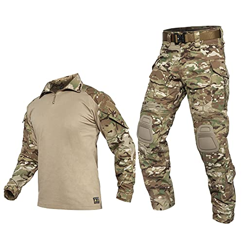 PAVEHAWKE G3 Combat Clothing Suit Camouflage with Knee Pads for Men Tactical Hunting Uniform Set Paintball Gear