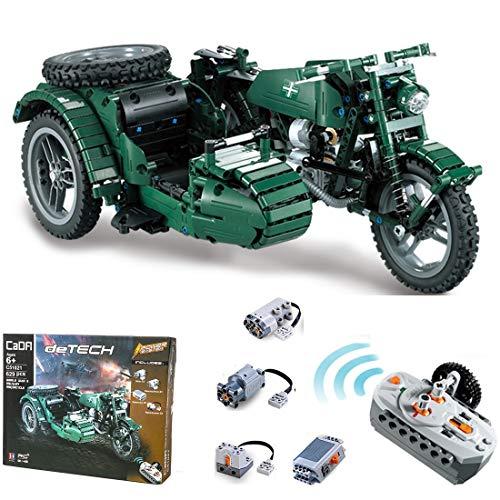 PEXL Technik Motorrad Bausteine Bausatz, Technic WW2 Militärmotorrad Modell mit 2.4G Fernbedienung und Motoren, 600 Klemmbausteine Kompatibel mit Lego Technic