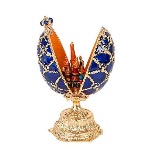 qifu-hand bemalt emailierten blau Fabergé Ei-Stil Dekorative Scharnier Schmuck Schmuckkästchen Einzigartiges Geschenk für Home Decor